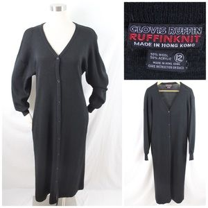 Vintage Ruffinknit Black Sweater Dress Pockets Lg.
